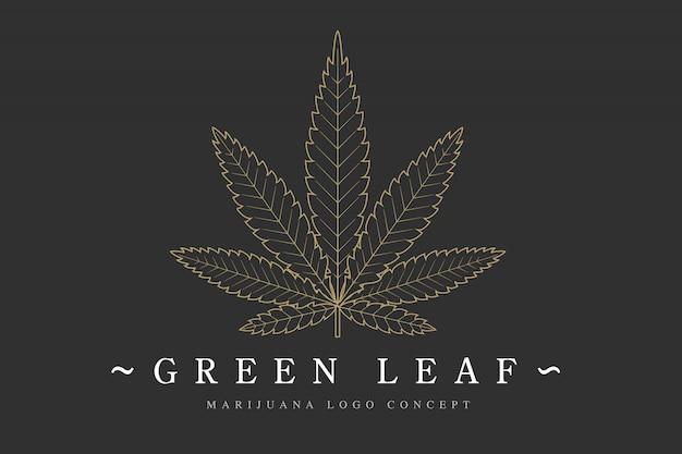 Szablon Logo Liść Marihuany Premium Wektorów