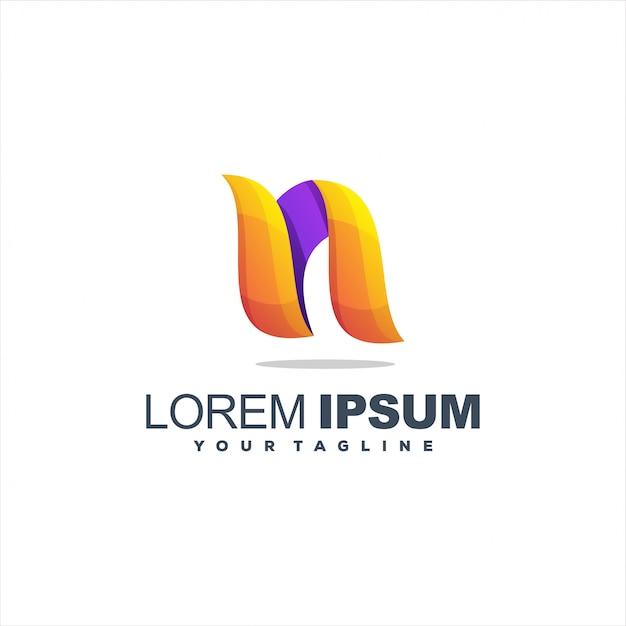 Szablon logo litera n Premium Wektorów