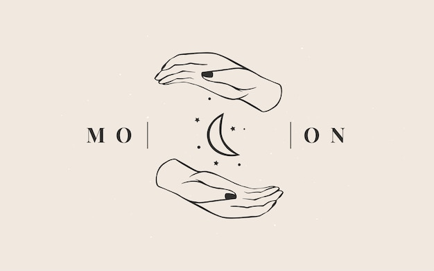 Szablon Logo. Logotyp Magii Ezoterycznej Branży Astrologicznej. Premium Wektorów