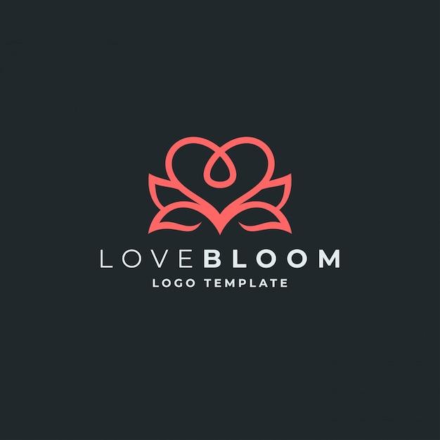 Szablon logo lotus i serce Premium Wektorów