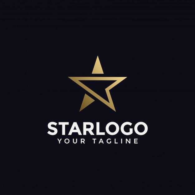 Szablon Logo Luksusowe Streszczenie Złota Gwiazda Premium Wektorów