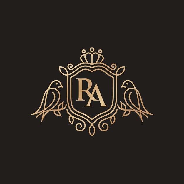 Szablon Logo Luksusowy Ptak Heraldyka Premium Wektorów