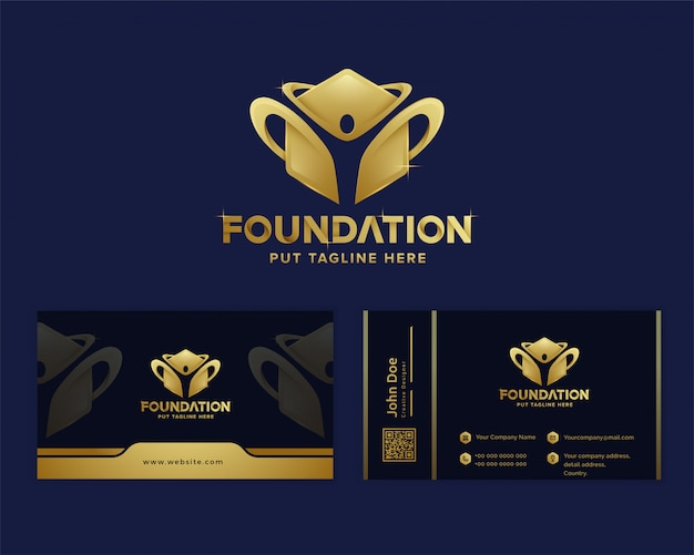 Szablon Logo Luksusowych Fundacji Premium Premium Wektorów
