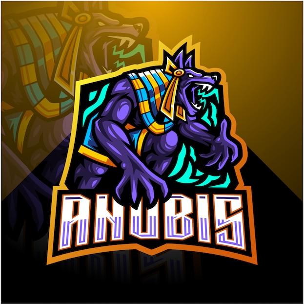 Szablon Logo Maskotka E-sport Anubis Premium Wektorów