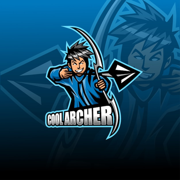 Szablon Logo Maskotka Esport Archer Premium Wektorów