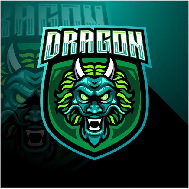 Szablon Logo Maskotka Esports Głowy Smoka Premium Wektorów