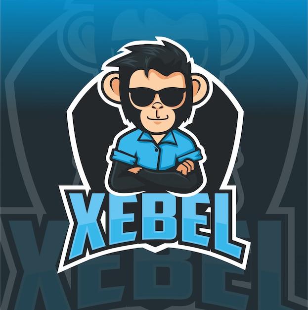 Szablon logo maskotka fajna małpa Premium Wektorów