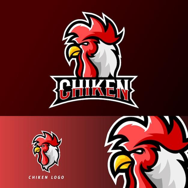 Szablon Logo Maskotki Dla Sportowców Z Kurczaka Lub Esportu Premium Wektorów