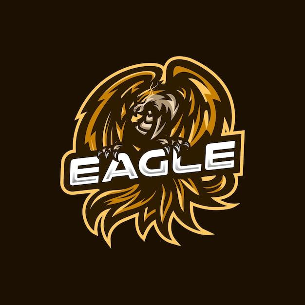 Szablon Logo Maskotki E-sportowej Orzeł Dla Zespołu Streamerów. Premium Wektorów
