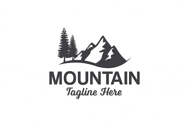 Szablon logo mountain peak Premium Wektorów
