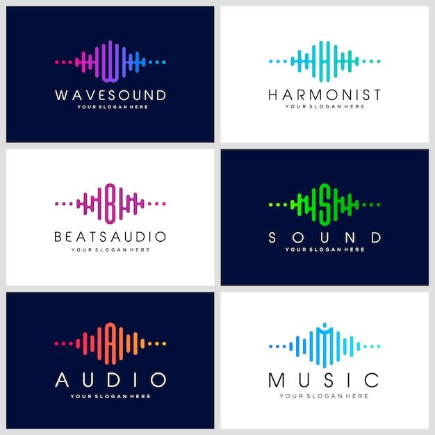Szablon Logo Muzyka Elektroniczna, Dźwięk, Korektor, Sklep, Dj, Klub Nocny, Dyskoteka. Koncepcja Logo Fali Dźwiękowej. Premium Wektorów