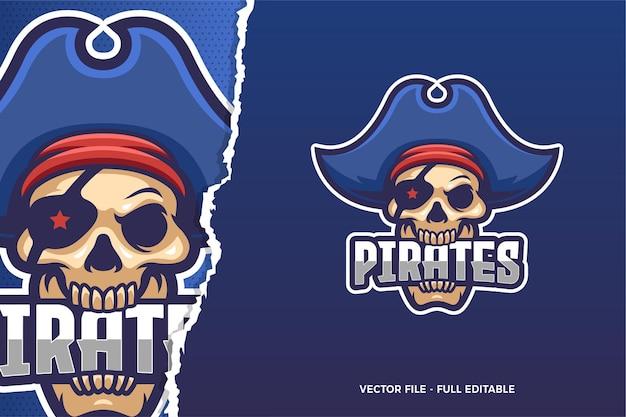 Szablon Logo Niebieski Pirat E-sport Premium Wektorów