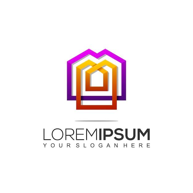 Szablon Logo Nowoczesnej Budowy Domu Premium Wektorów