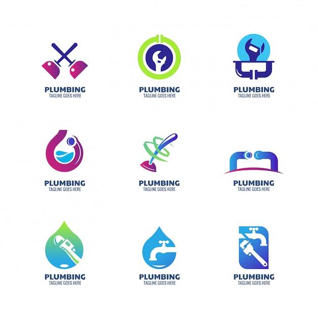 Szablon logo nowoczesnej hydrauliki dla usług instalacyjnych i firmy Premium Wektorów