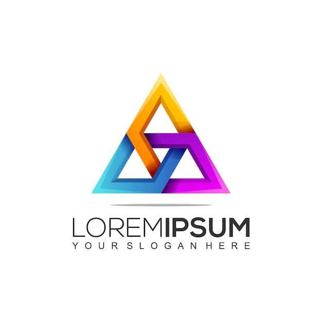 Szablon Logo Nowoczesnej Konstrukcji Trójkąta Premium Wektorów