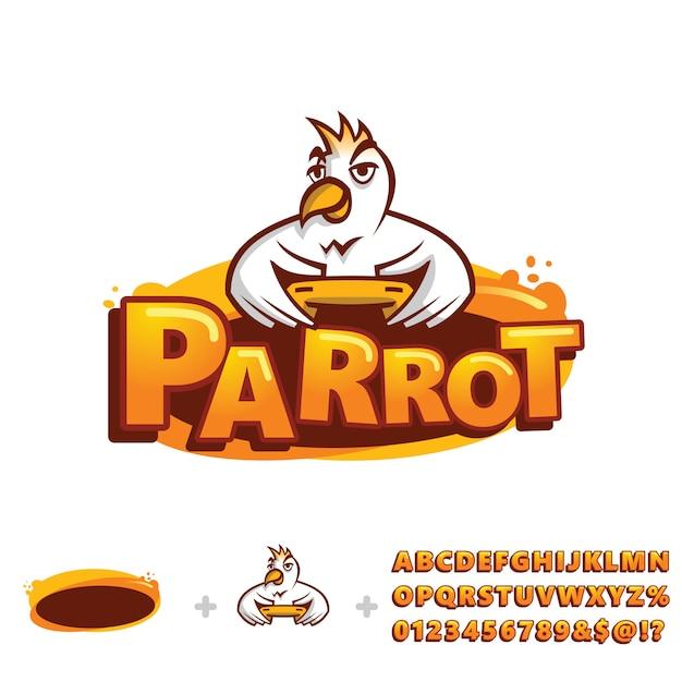 Szablon logo papuga z alfabetu Premium Wektorów