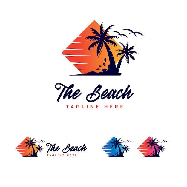 Szablon logo premium beach Premium Wektorów