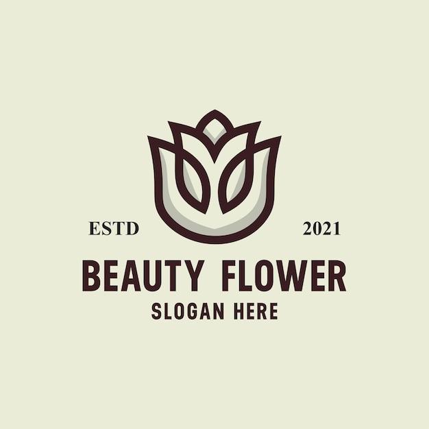 Szablon Logo Retro Vintage Wektor Kwiat Uroda Premium Wektorów
