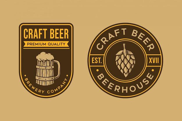 Szablon logo rocznika piwa Premium Wektorów