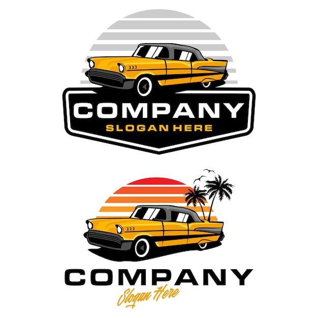 Szablon Logo Rocznika Samochodu Klasycznego Premium Wektorów