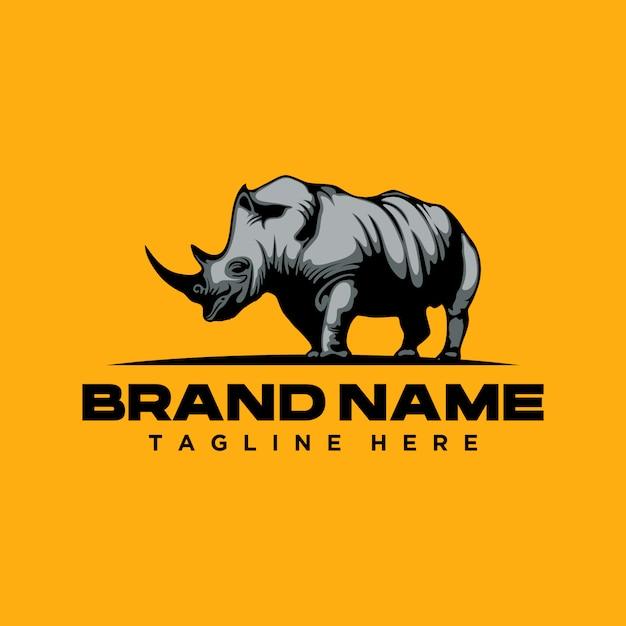 Szablon logo silnego nosorożca Premium Wektorów