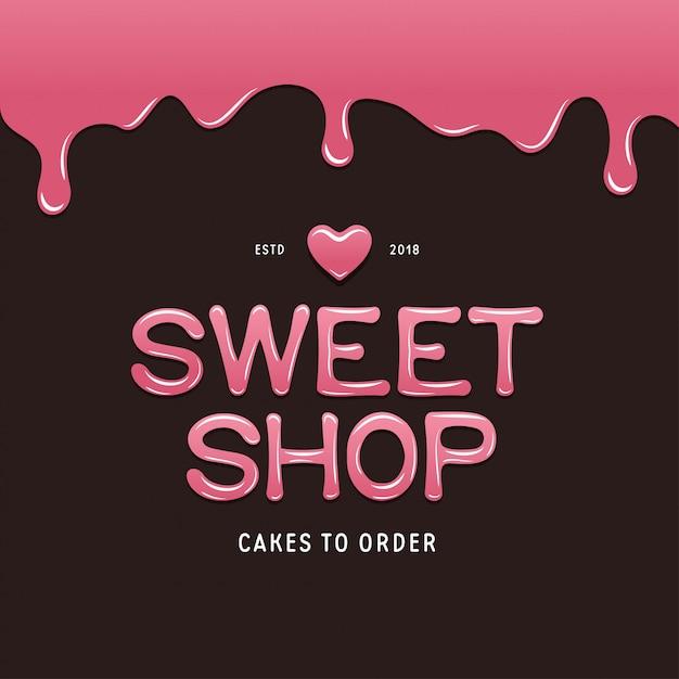 Szablon logo słodkiego sklepu. tekst w stylu czekoladowym. Premium Wektorów