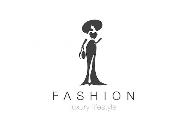 Szablon Logo Sylwetka Eleganckiej Kobiety Moda Premium Wektorów