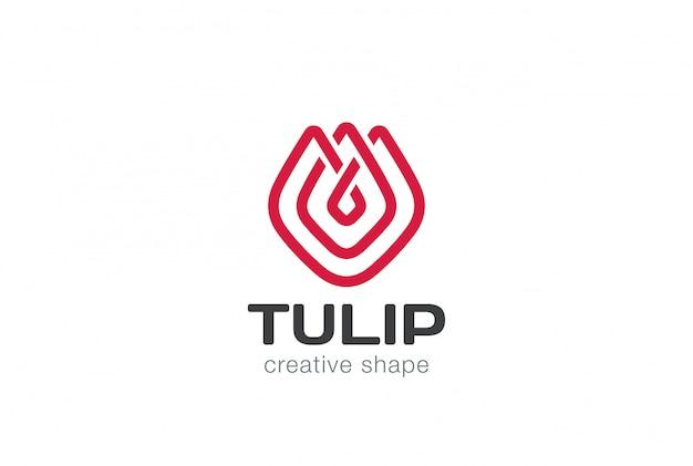Szablon Logo Tulipan Kwiat W Streszczenie Styl Liniowy Premium Wektorów