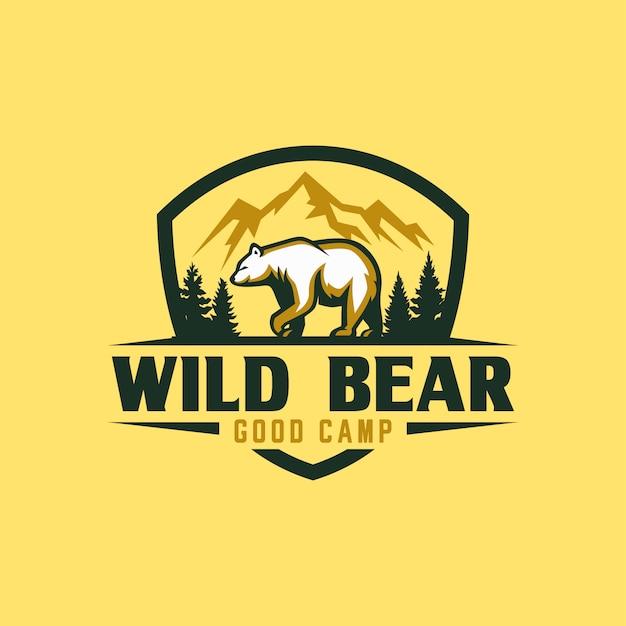 Szablon logo vintage bear Premium Wektorów