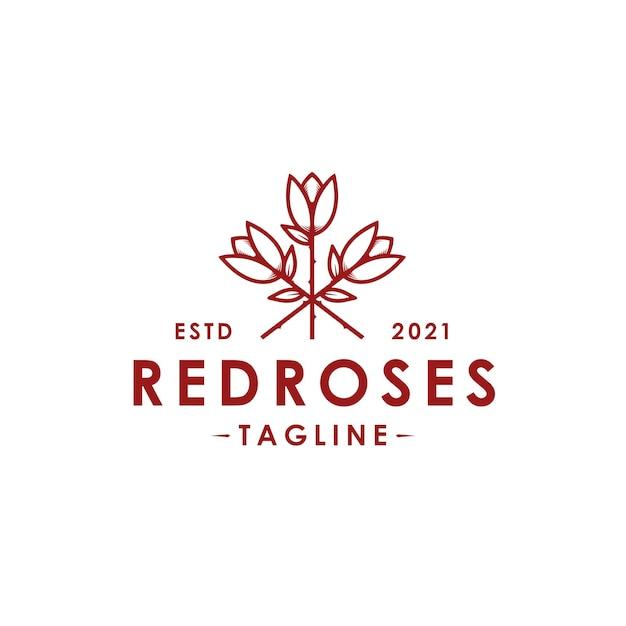 Szablon Logo Wektor Czerwone Róże Na Białym Tle Premium Wektorów