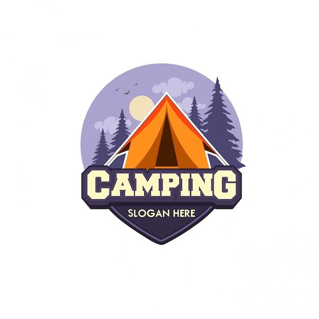 Szablon logo wektor ilustracja kemping Premium Wektorów