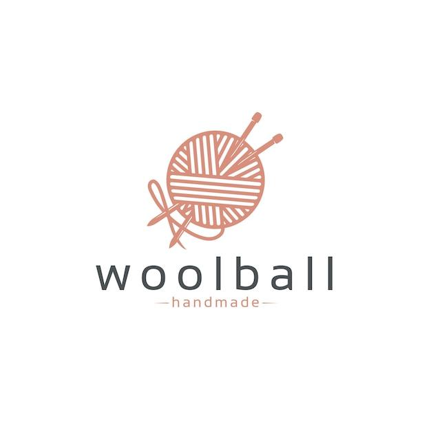 Szablon logo wool ball Premium Wektorów