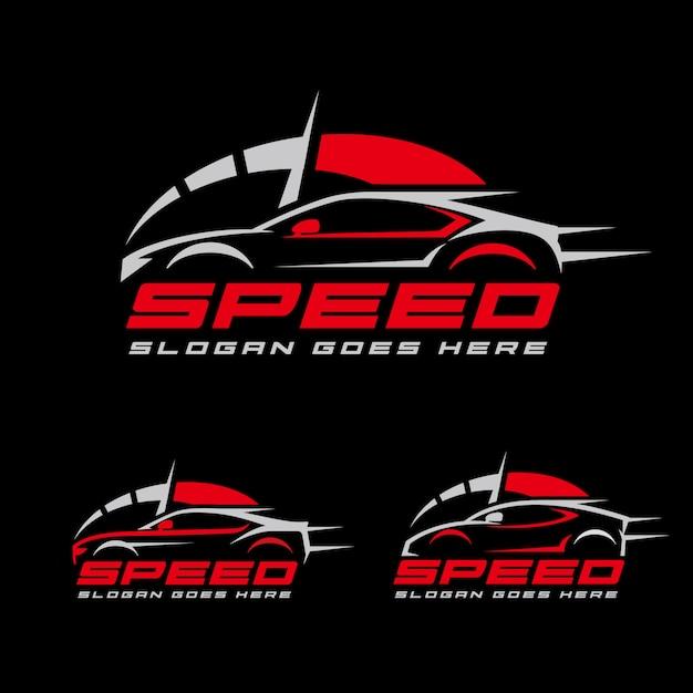 Szablon logo wyścigów samochodowych prędkości Premium Wektorów