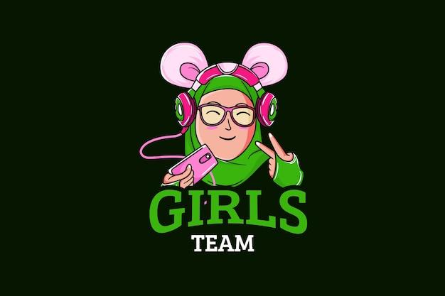 Szablon Logo Zespołu E-sport Z Dziewczyną Premium Wektorów