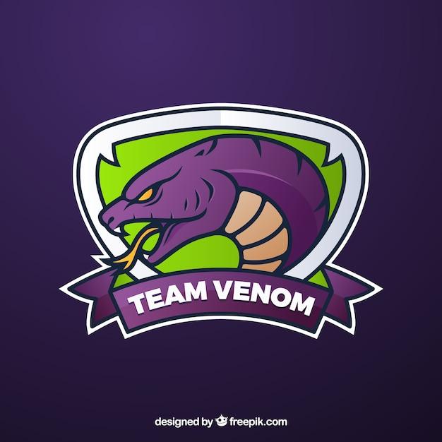 Szablon logo zespołu e-sport z wężem Darmowych Wektorów