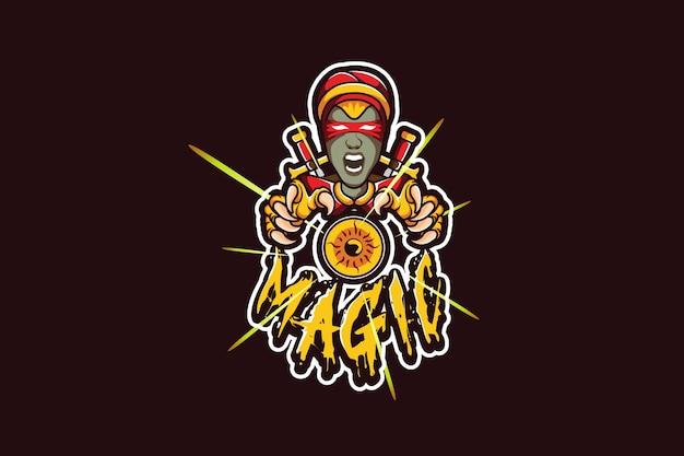 Szablon Logo Zespołu E-sportowego Z Czarownicą Premium Wektorów