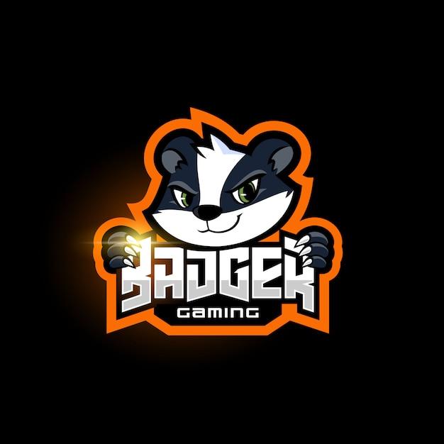 Szablon Logo Zespołu Sportowego Maskotka Borsuka Premium Wektorów
