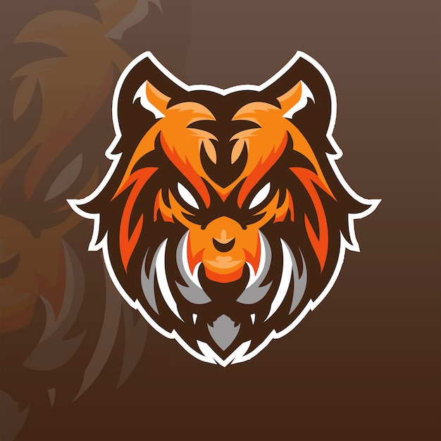 Szablon Logo Zespołu Tiger E-sport Premium Wektorów