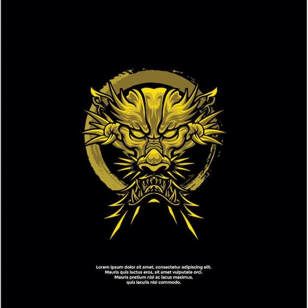 Szablon Logo Złoty Smok Głowa Premium Wektorów