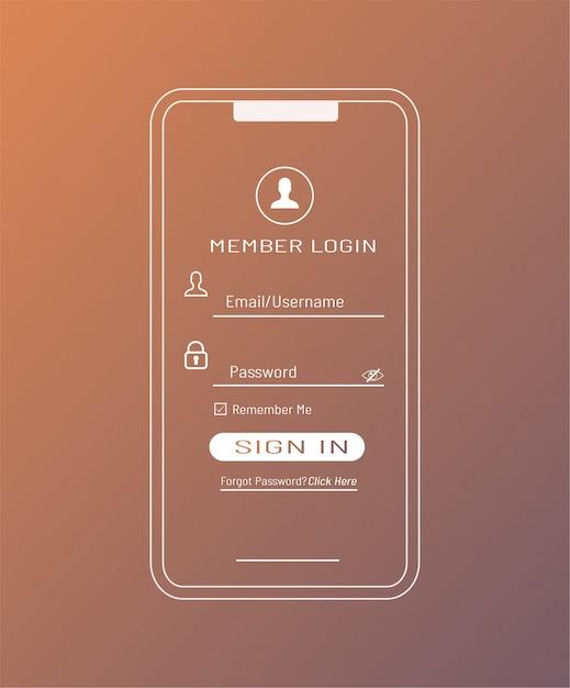 Szablon Logowania Użytkownika W Smartfonie Premium Wektorów