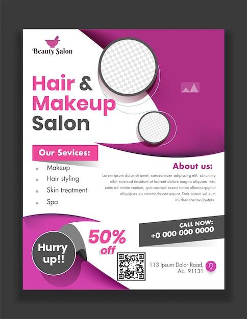 Szablon lub ulotka hair & makeup salon z podanymi usługami i szczegóły dotyczące miejsca reklamowego. Premium Wektorów