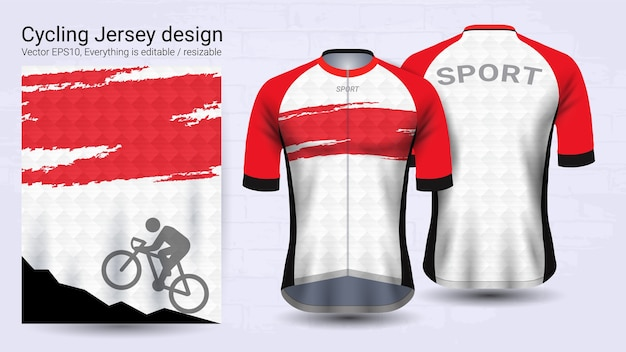 Szablon makieta sport czerwony i biały krótki rękaw Premium Wektorów