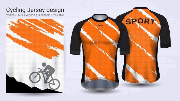 Szablon makieta sport pomarańczowy i biały krótki rękaw Premium Wektorów