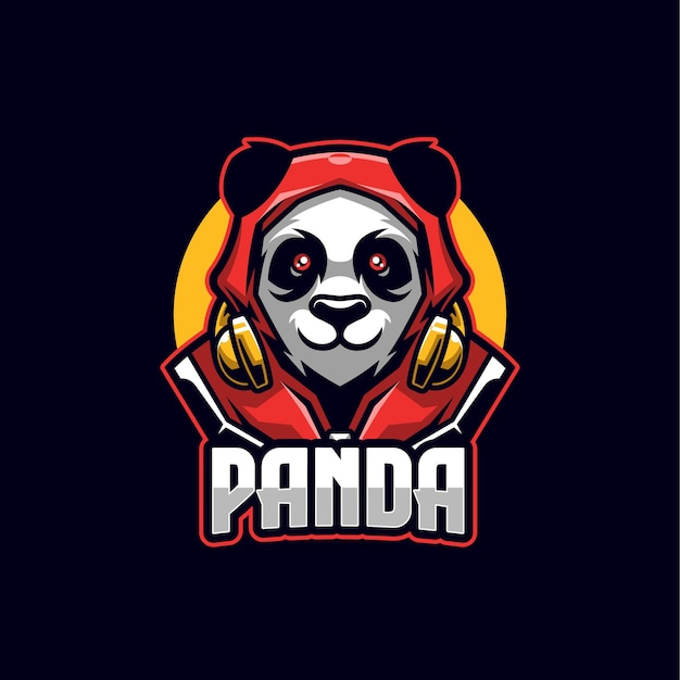 Szablon Maskotki Logo Panda Esports Premium Wektorów