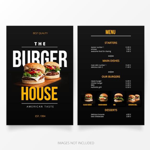 Szablon menu Burger House Darmowych Wektorów