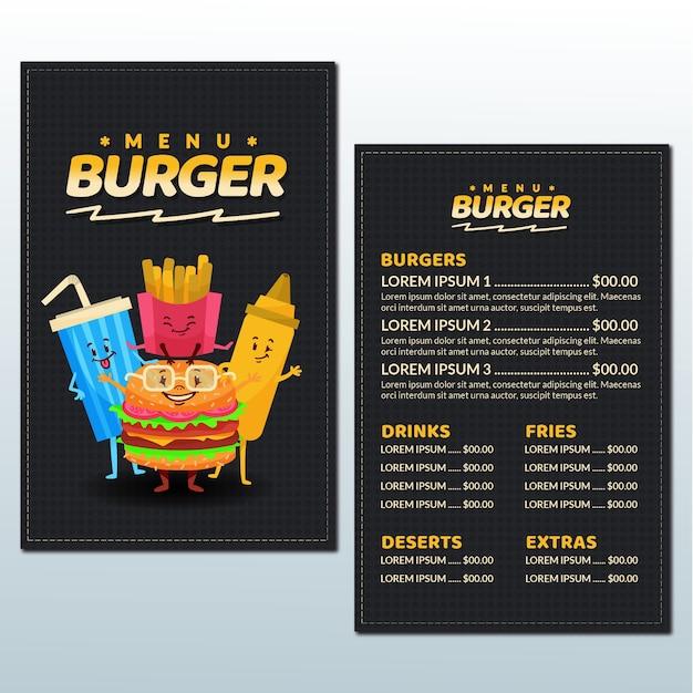 Szablon Menu Burger Z Ilustracjami Darmowych Wektorów