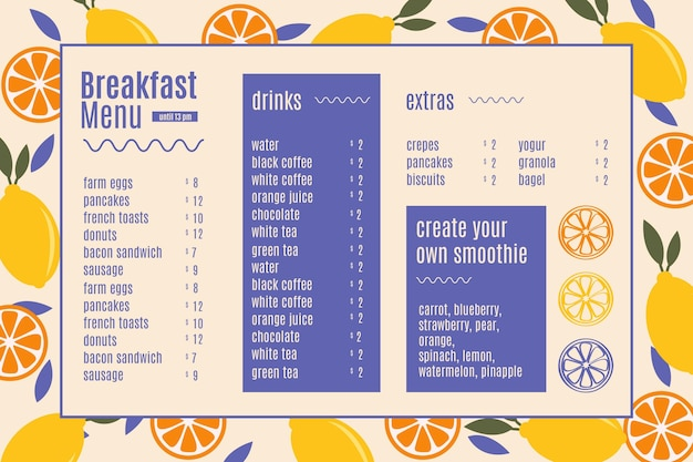Szablon Menu Cyfrowej Restauracji śniadaniowej Darmowych Wektorów