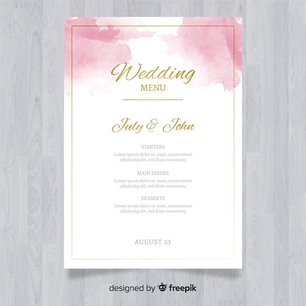 Szablon menu elegancki ślub akwarela Darmowych Wektorów