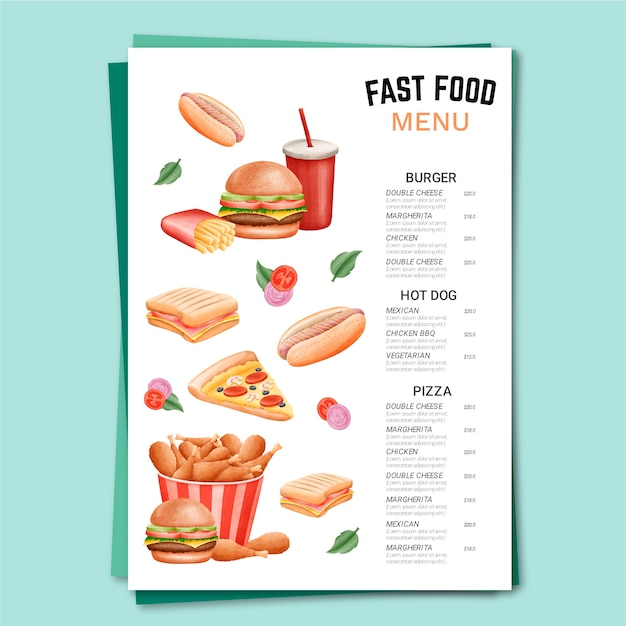 Szablon Menu Fast Food Darmowych Wektorów