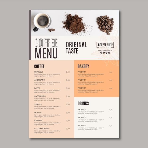 Szablon Menu Kawy Premium Wektorów